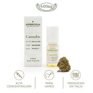 Ambrosia CBD eliquid cannabis liquido vapeo cannabidiol alta concentracion