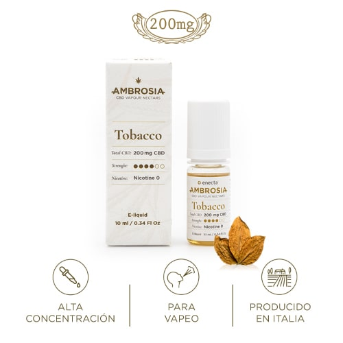 Ambrosia CBD eliquid sabor tabaco liquido vapeo cannabidiol relajante